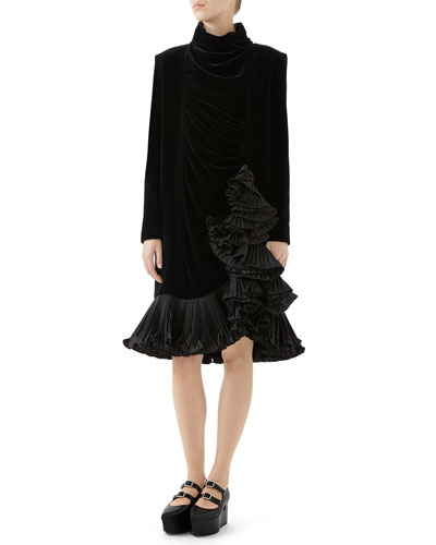 Long-Sleeve Pleated-Hem Velvet Dress