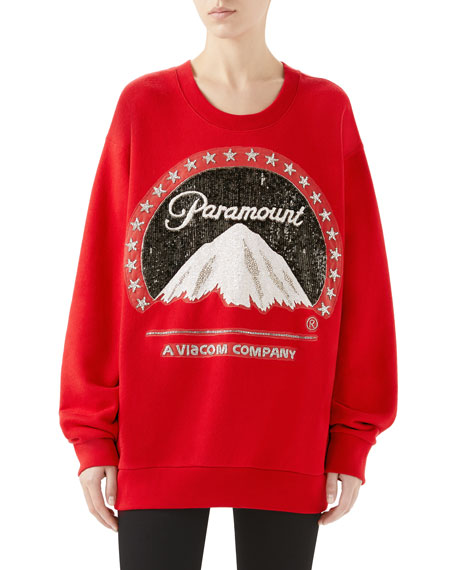 Paramount Embroidered Oversized Felted Cotton Sweatshirt in Red