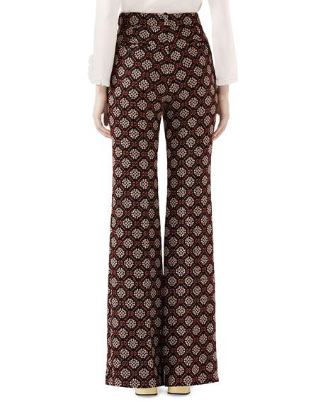 High-Waist Flared-Leg GG Net Wool-Blend Pants