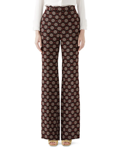 295212145ea9 Gucci High-Waist Flared-Leg GG Net Wool-Blend Pants