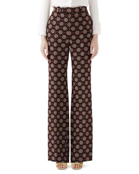 Gucci High-Waist Flared-Leg GG Net Wool-Blend Pants