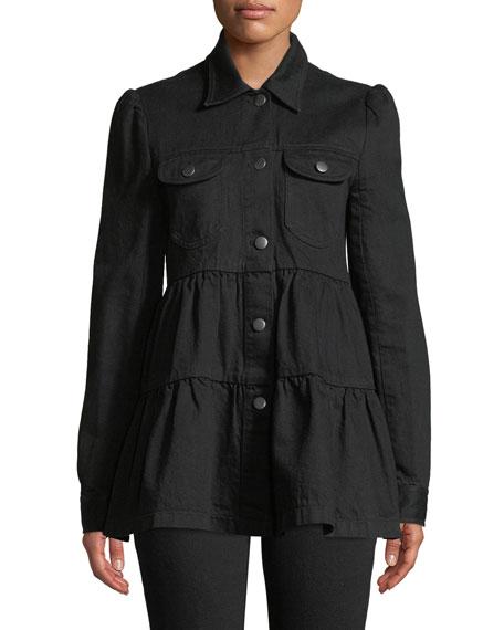 Button-Front Tiered Denim Jacket