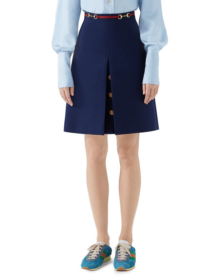 Gucci Cady Crepe Wool-Silk Skirt w/ Leather Detail