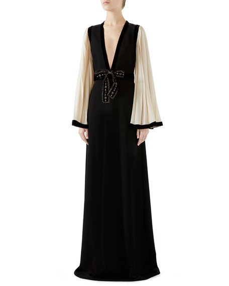 Gucci Pleated-Sleeve Bow-Front V-Neck Stretch-Jersey Evening Gown