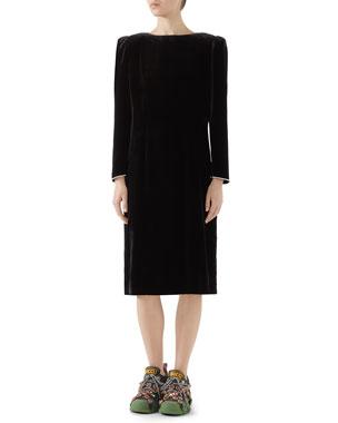 13273c19 Gucci Long-Sleeve Back Bow Classic Silk-Viscose Velvet Dress w/ Crystal Trim