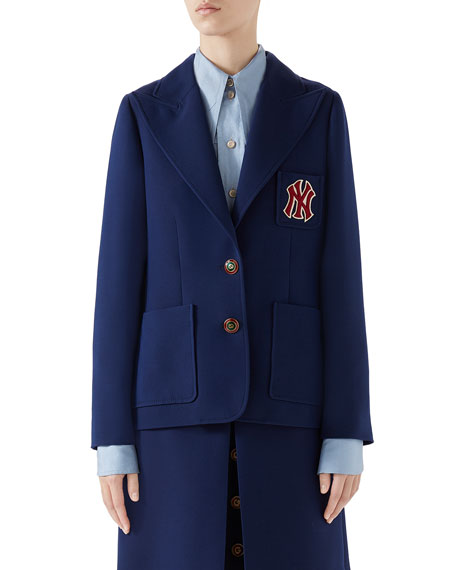 Gucci Single-Breasted NY Yankees Patch Cady Crepe Wool