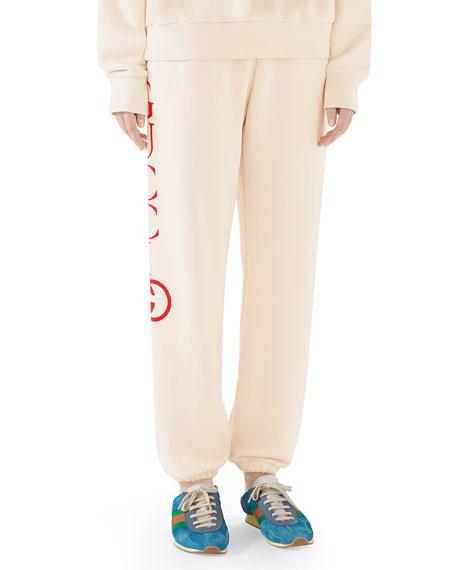 Heavy-Felted Cotton Jersey Jogger Sweatpants w/ Interlock GG Print
