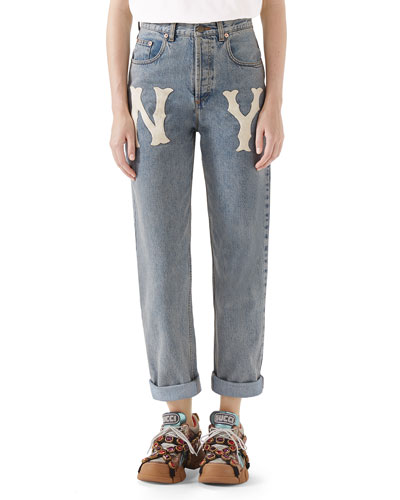 High-Waist 80s Fit NY Yankees MLB Patch Denim Jeans