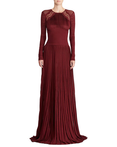 50th Anniversary Empire-Waist Long-Sleeve Pleated Long Evening Gown