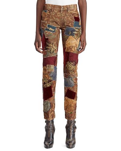 50th Anniversary Kinsley Multi-Fabric Patchwork Cigarette-Leg Jeans