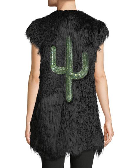 Satin Tie-Neck Faux-Fur Vest w/ Crystal Cactus