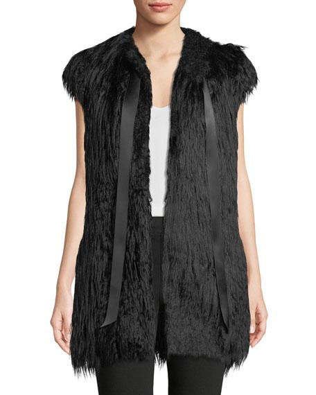 Amanda Baldan Satin Tie-Neck Faux-Fur Vest w/ Crystal