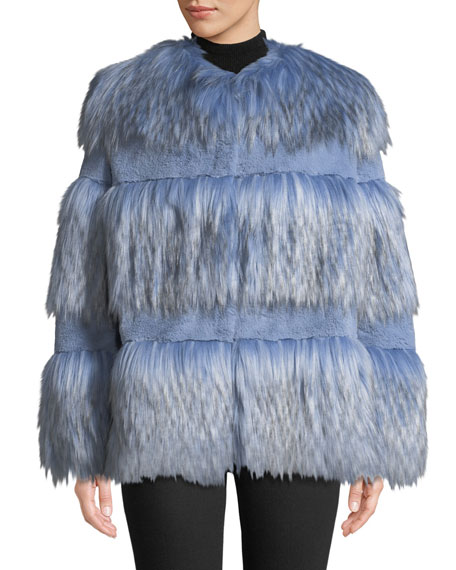 Paneled Faux-Fur Chubby Coat