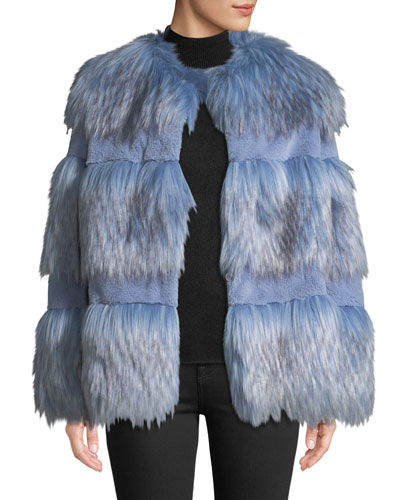 Paneled Faux-Fur Chubby Coat