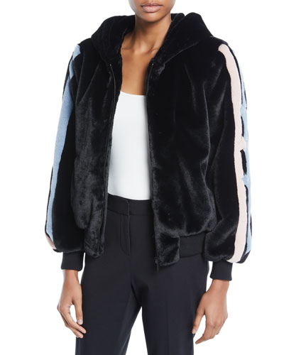 Christy Star-Intarsia Faux-Fur Bomber Jacket