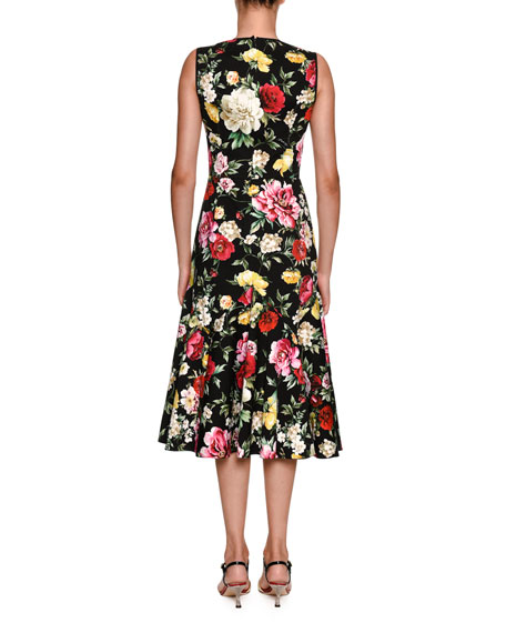 Round-Neck Sleeveless Floral-Print Midi Dress