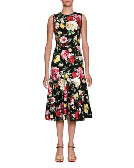 Round-Neck Sleeveless Floral-Print Midi Dress