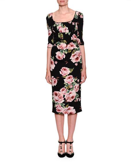Elbow-Sleeve Scoop-Neck Rose-Print Sheath Cocktail Dress