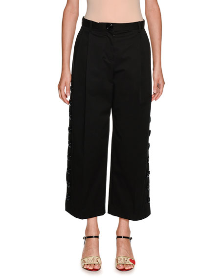 Dolce & Gabbana Side Snaps Wide-Leg Crop Stretch-Cotton