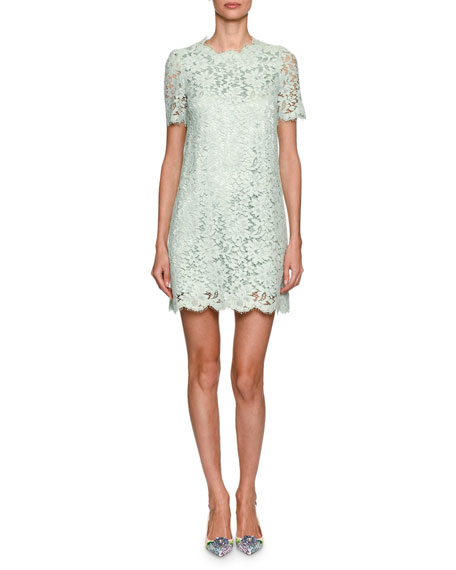 Short-Sleeve Floral Lace Minidress, Light Green