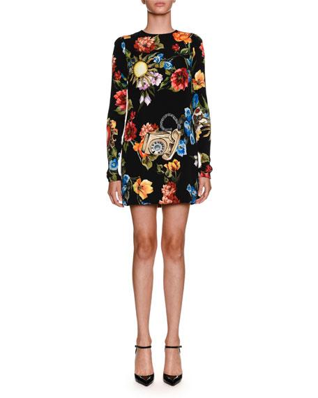 Dolce & Gabbana Floral Telephone-Print Long-Sleeve Charmeuse