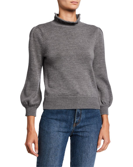Ruffled Turtleneck Long-Sleeve Wool Sweater