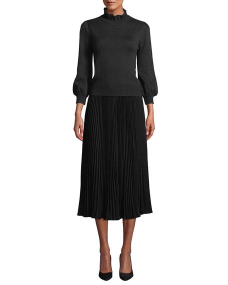 Allover Plisse Pleated Midi Skirt