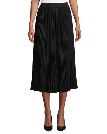 Woman Pleated Crepe Midi Skirt Black