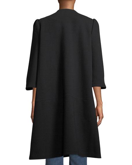 Flare-Sleeve Hidden-Placket  Swing Coat