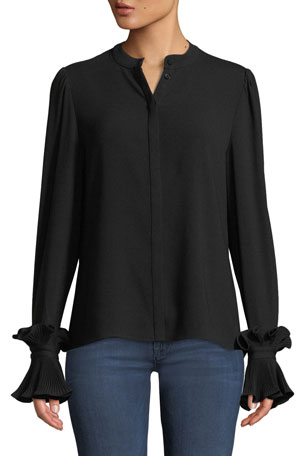 Co Button-Front Plisse Pleated Cuff Crepe Blouse
