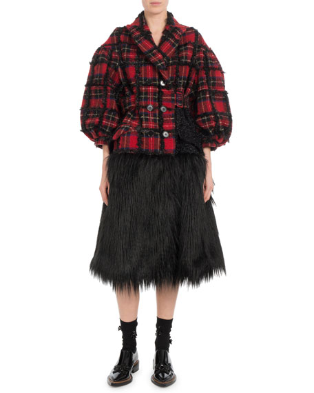 Double-Breasted Plaid Tinsel-Back Faux-Fur Bottom Coat