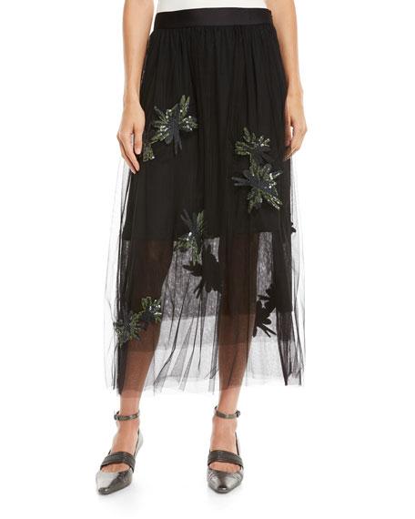 Brunello Cucinelli Tulle Midi Skirt w/ Paillette Embroidery