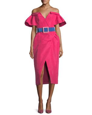 6500346be88 Carolina Herrera Off-the-Shoulder V-Neck Faux-Wrap Dress