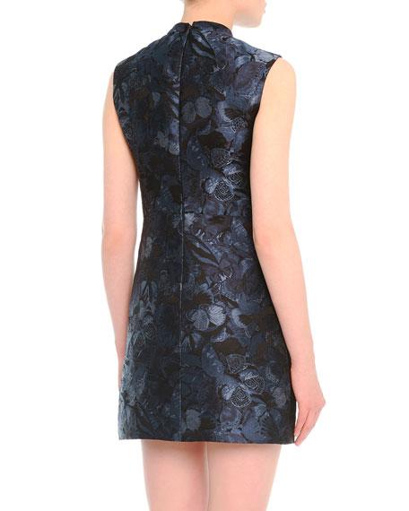 Butterfly-Print Tie-Neck Dress
