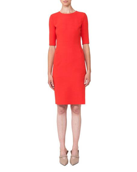 Half-Sleeve Double-Face Wool Dress