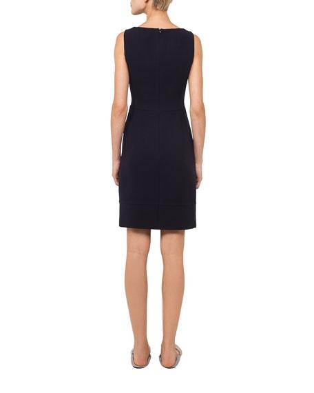 Round-Neck Sleeveless Wool Crepe Sheath Dress