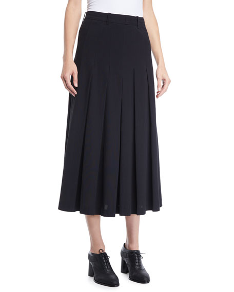 Co PLEATED A-LINE LONG LIGHTWEIGHT SUITING SKIRT