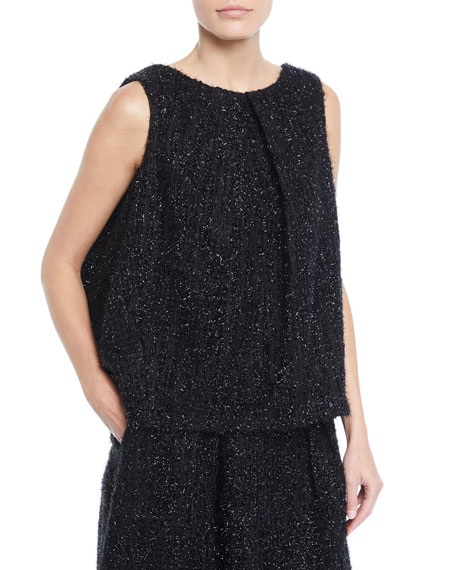 Co BOAT-NECK SLEEVELESS METALLIC TWEED BLOUSE