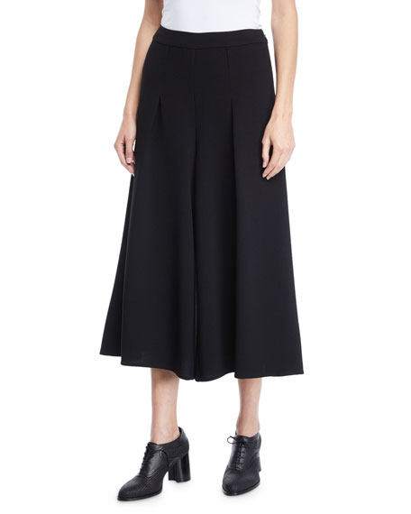 Co FLAT-FRONT WIDE-LEG HEAVY CREPE CROPPED PANTS
