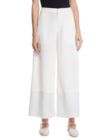 Co FLAT-FRONT WIDE-LEG PANTS W/ CONTRAST HEM
