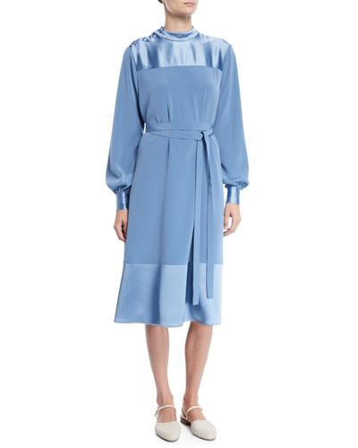 d9753122b49 Co Button-Shoulder Long-Sleeve Stretch-Crepe Dress w  Satin