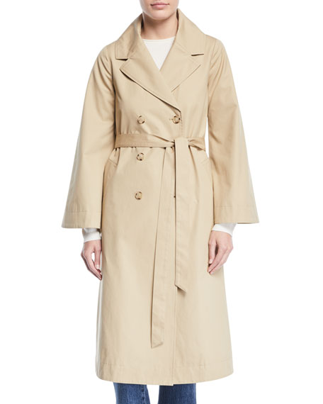 Co DOUBLE-BREASTED PORTRAIT-COLLAR BELTED COTTON TRENCH COAT