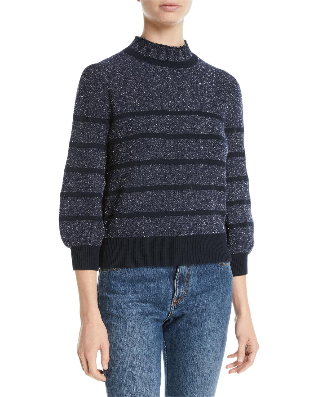 1538f7dda8e6a Co Mock-Neck 3 4-Sleeve Striped Metallic-Knit Sweater
