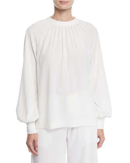 Co RUCHED-NECK TIEBACK BLOUSON-SLEEVE STRETCH-CREPE TUNIC BLOUSE