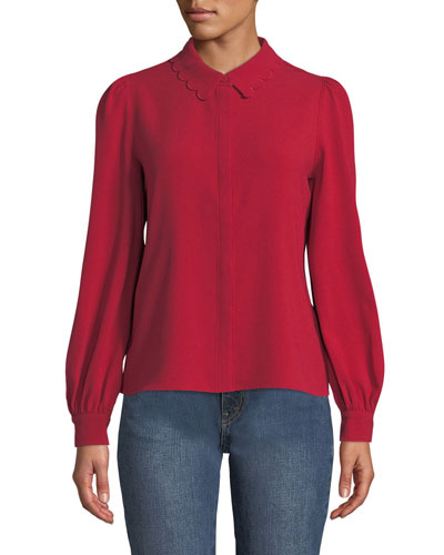 Scalloped Collar Button-Front Blouse