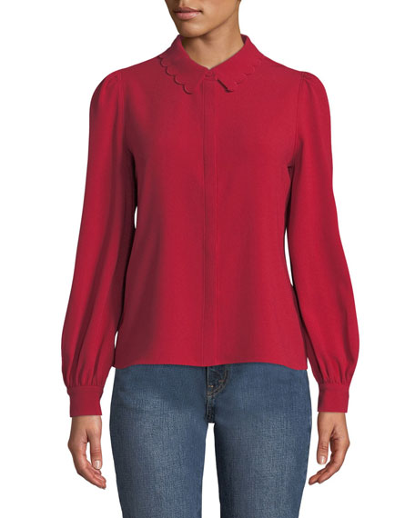 Co SCALLOPED COLLAR BUTTON-FRONT BLOUSE