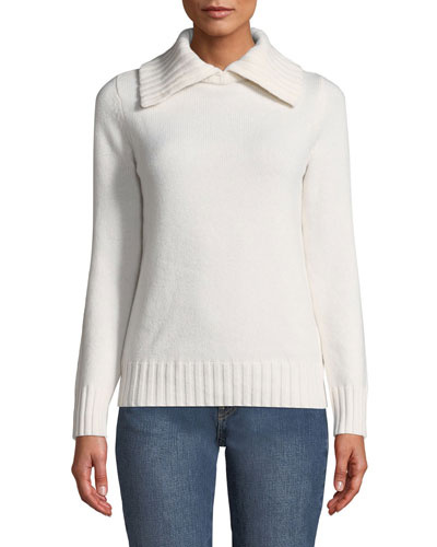 Wool-Cashmere Ribbed-Collar Sweater