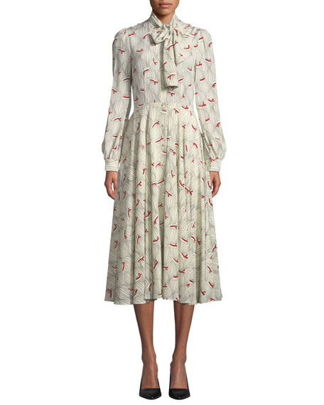 Co BOW-NECK HAT PRINT SILK MIDI DRESS