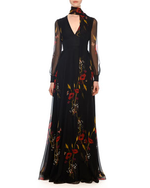 57de6b9549 Valentino V-Neck Long-Sleeve Floral-Meadow Print Chiffon Evening Gown