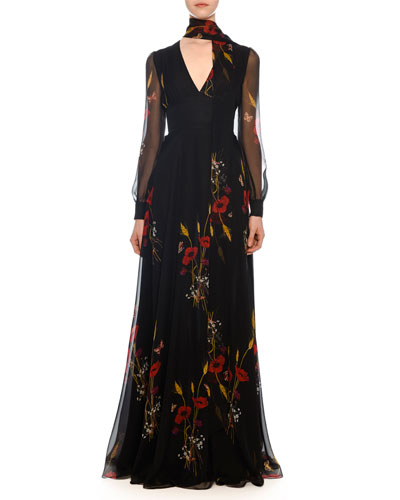 V-Neck Long-Sleeve Floral-Meadow Print Chiffon Evening Gown
